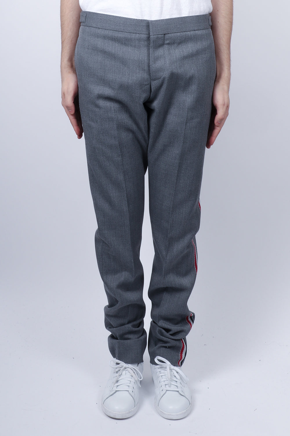 Thom Browne Unconstructed RWB Stripe Skinny Trouser In Med Grey