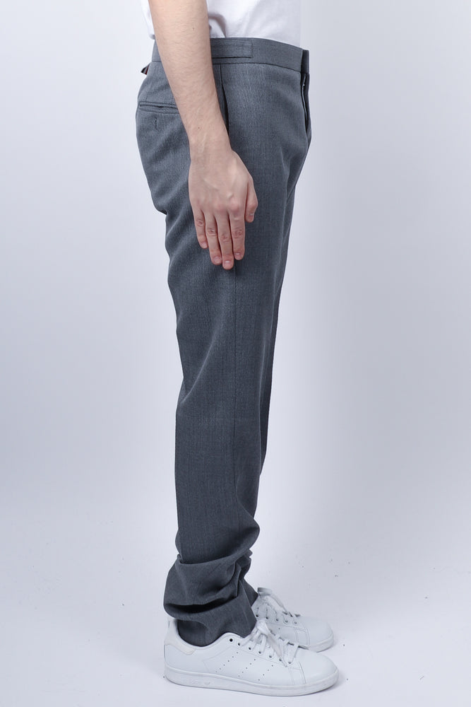 Thom Browne Unconstructed RWB Stripe Skinny Trouser In Med Grey - CNTRBND