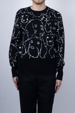Thom Browne Hector Portrait Merino Crew Neck In Navy