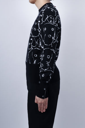 Load image into Gallery viewer, Thom Browne Hector Portrait Merino Crew Neck In Navy - CNTRBND