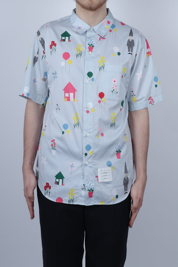 Thom Browne All Over Print Polo Collar S/S Shirt In Lt Blue