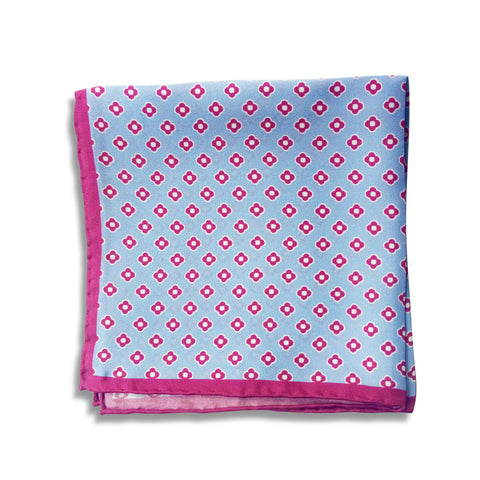 Blue and Pink Silk Pocket Square
