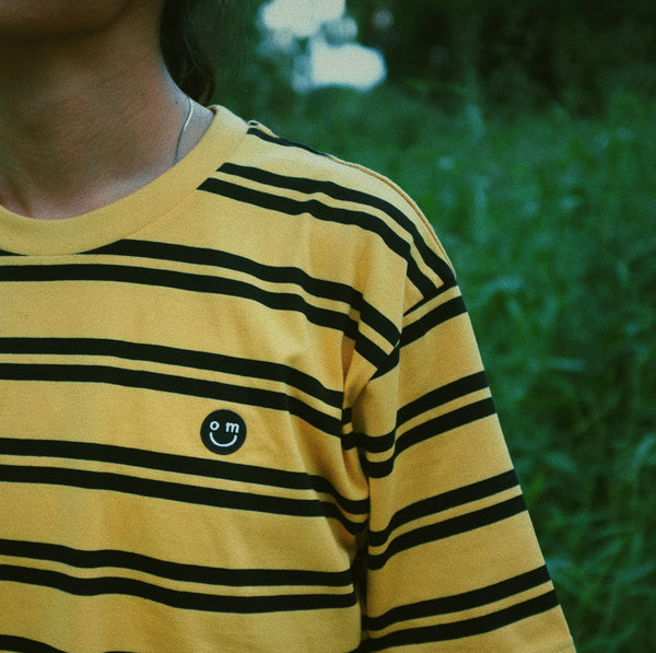 SMILE PATCH : BLACK/YELLOW STRIPE