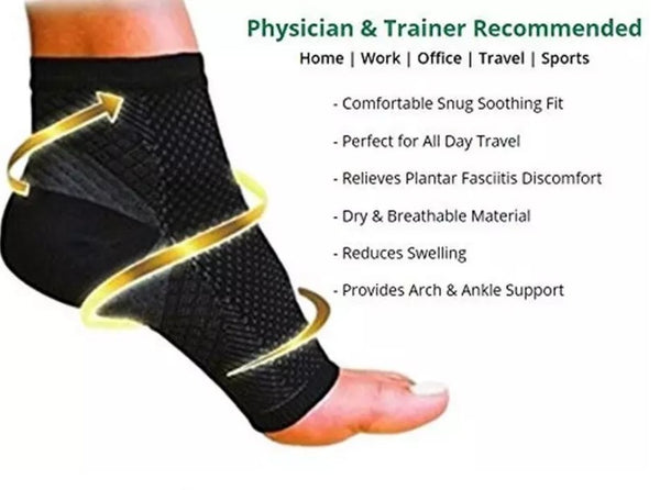 Ankle Sock Compression Support Heel Sleeve Open Toe - Unisex - OmniBrace