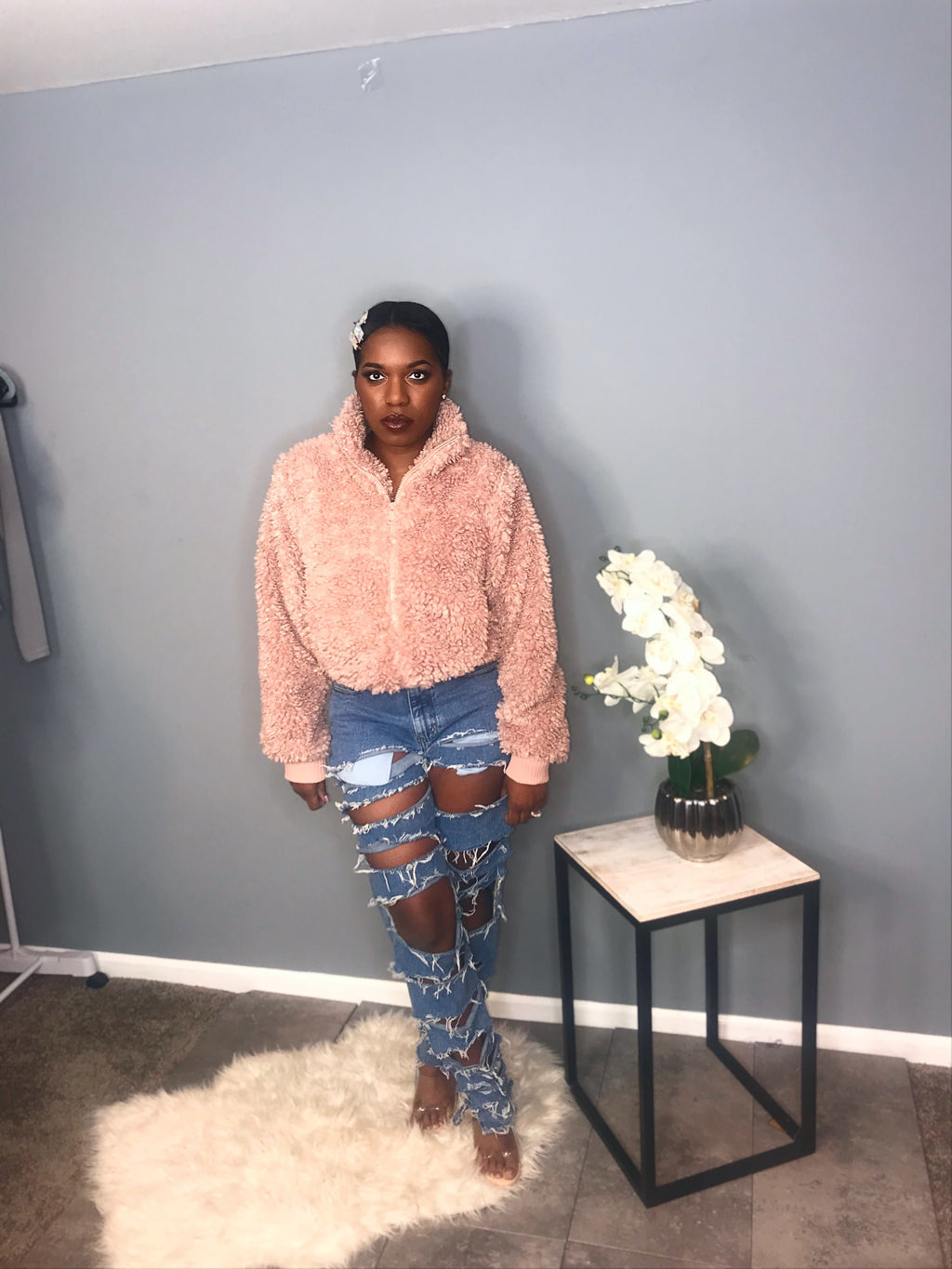 Cozy Teddy Bomber Jacket (Mauve)