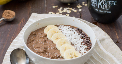 Chocolate Coffee Oatmeal made with Koffee Kult Coffee to get your day started on the right foot! Vegan, gluten free, and so easy!