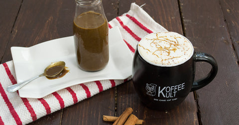 Make your own Gingerbread Latte at home. This healthier version is dairy free, vegan, paleo and so easy. | www.koffeekult.com