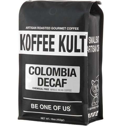 Colombian Decaf - Chemical Free water process decaf coffee 16oz whole bean front left