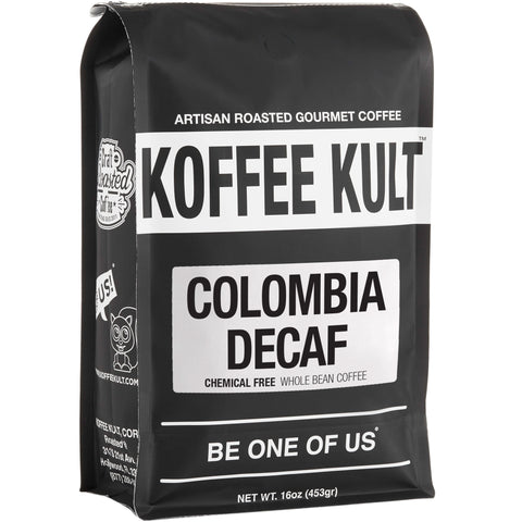 Colombian Decaf - Chemical Free water process decaf coffee 16oz whole bean front right