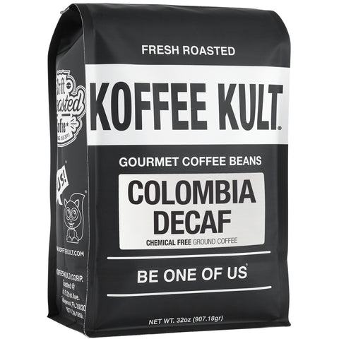Colombian Decaf - Chemical Free water process decaf coffee 32oz ground front right