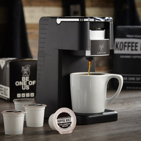 Original Koffee Kult Colombia Decaf coffee in single serve cups