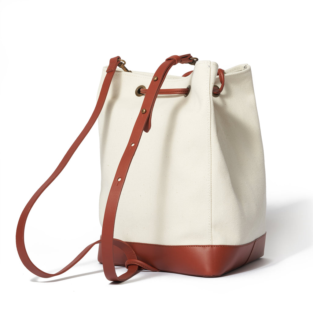 Tris - Canvas/Brown - VereVerto - Convertible Leather Handbag Purse