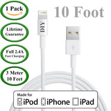 [Extra Long] 3 Meter / 10 Foot - Apple Certified Lightning USB Charger Cable -  USB Cables Cell Phone DIY