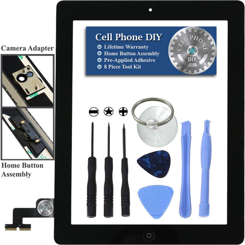 Black iPad 2 Replacement Digitizer Screen Kit -   Cell Phone DIY