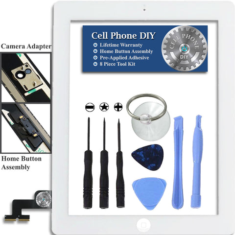 White iPad 2 Replacement Digitizer Screen Kit -   Cell Phone DIY
