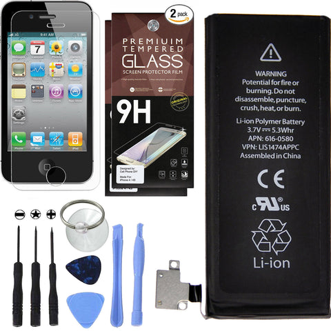 Complete Replacement Battery Kit for iPhone 4S + Extra Accessories -  Battery Cell Phone DIY