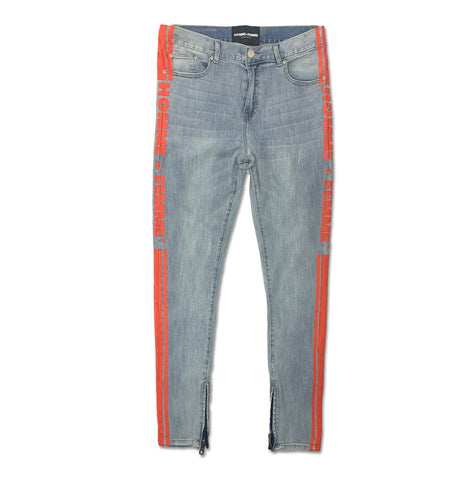 Trademark Denim Blue and Orange Jeans - Denim Exchange