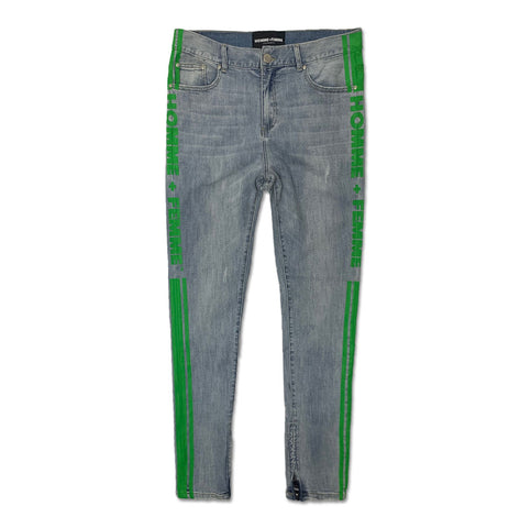 Trademark Denim Blue and Green Jeans
