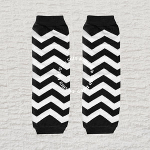 Black and White Chevron Baby Leg Warmers