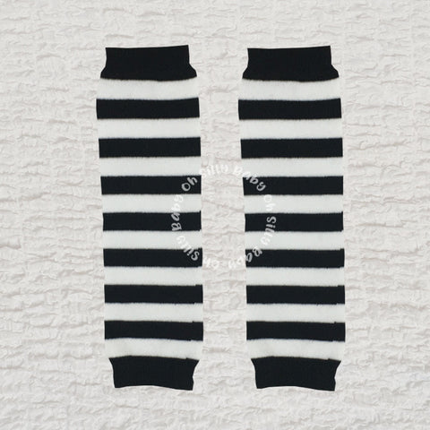 Black and White Stripe Leg Warmer and Arm Warmer