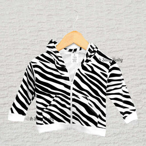 Black and White Zebra Hoodie 6-12 Months