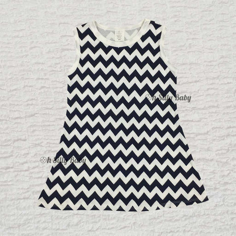Blue and White Chevron Dress 2/3T