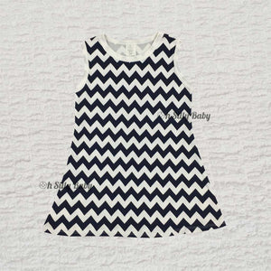 Blue and White Chevron Dress 0-12 Months