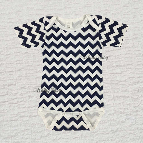 Blue and White Chevron Onesie 12-18 Months