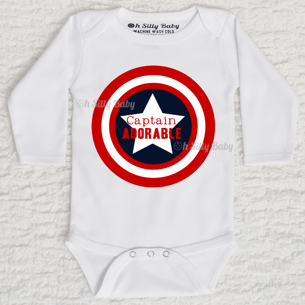 f178a6bd4f2c Captain Adorable Captain America Onesie or Shirt Oh Silly Baby