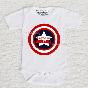 Captain Adorable Captain America Long Sleeve White Onesie