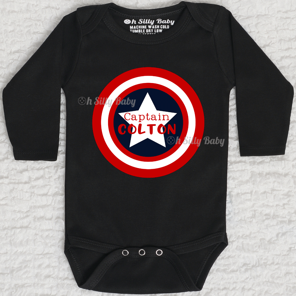 captain america name onesie or shirt oh silly baby