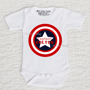 Captain America Personalized Name Long Sleeve White Onesie