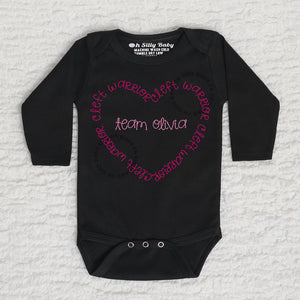 Cleft Warrior Heart Long Sleeve White Onesie