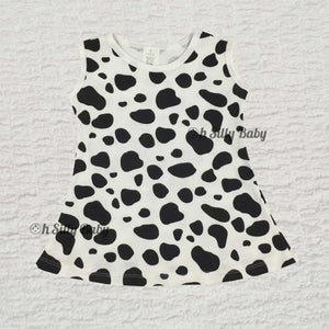 Cow Print Grow With Me  Dress 0-12 Months