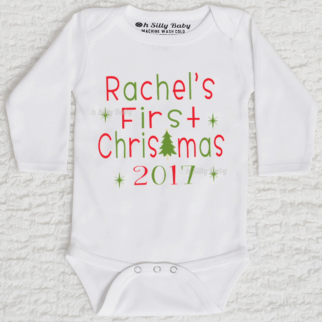 6b2428c62 First Christmas Personalized Bodysuit Oh Silly Baby