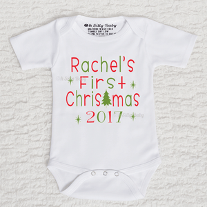 First Christmas Personalized Long Sleeve White Onesie