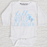 Hello World Footprint Personalized Long Sleeve White Onesie