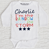 I'm The Rainbow After The Storm Boy Personalized Long Sleeve White Onesie