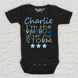 I'm The Rainbow After The Storm Boy Personalized Short Sleeve Black Onesie