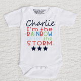 I'm The Rainbow After The Storm Boy Personalized Short Sleeve White Onesie