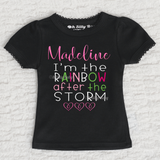 I'm The Rainbow After The Storm Girl Personalized Short Sleeve Scallop Trim Black Shirt