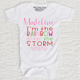 I'm The Rainbow After The Storm Girl Personalized Short Sleeve Scallop Trim White Onesie