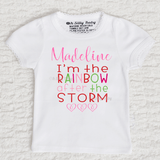 I'm The Rainbow After The Storm Girl Personalized Short Sleeve Scallop Trim White Shirt
