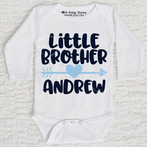 Little Brother Long Sleeve White Onesie