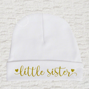 Little Sister White Baby Beanie Hat