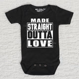 Made Straight Outta Love Short Sleeve Black Onesie