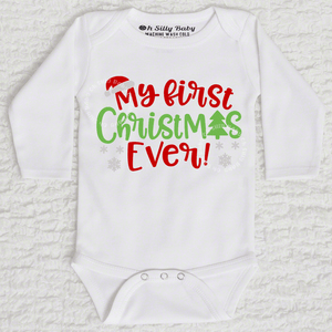 My First Christmas Ever Long Sleeve White Onesie