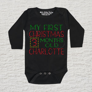 My First Christmas Stats Glitter Long Sleeve White Onesie
