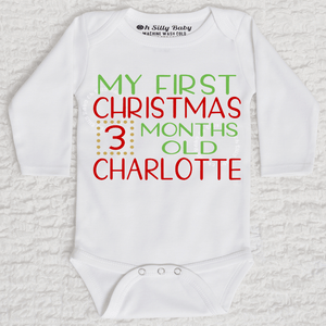 My First Christmas Stats Long Sleeve White Onesie