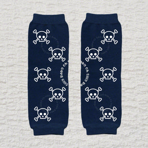 Skull And Crossbone White Baby Leg Warmers